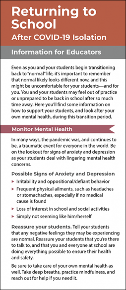 Returning to School After COVID 19 Isolation Information for Educators Rack Card Handout