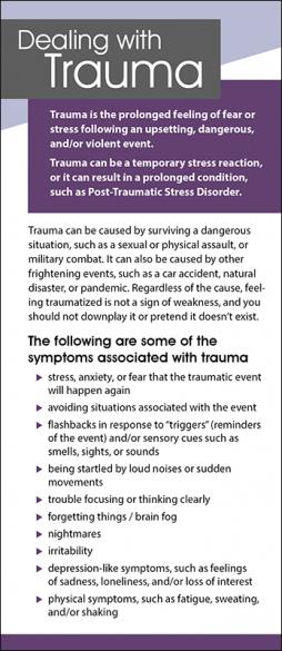 Mental Health Dealing with Trauma Rack Card Handout