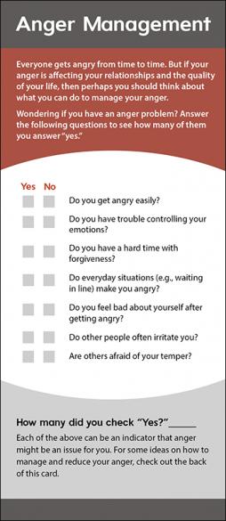 Mental Health Anger Management Rack Card Handout