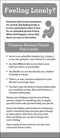 Mental Health Feeling Lonely Rack Card Handout