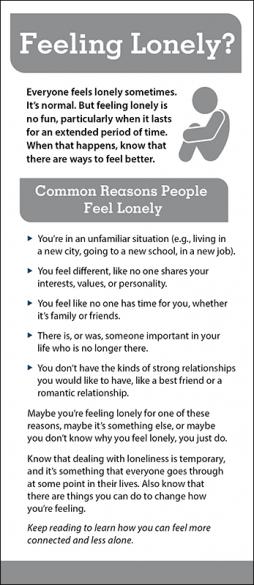 Mental Health Feeling Lonely Rack Card Handout