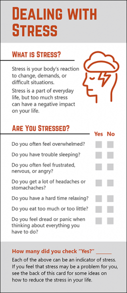 Mental Health Dealing with Stress Rack Card Handout