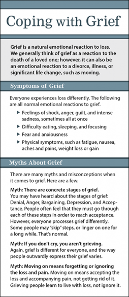 Mental Health Coping with Grief Rack Card Handout
