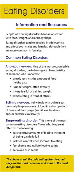 Mental Health Eating Disorders Rack Card Handout