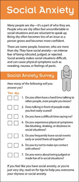 Mental Health Social Anxiety Rack Card Handout