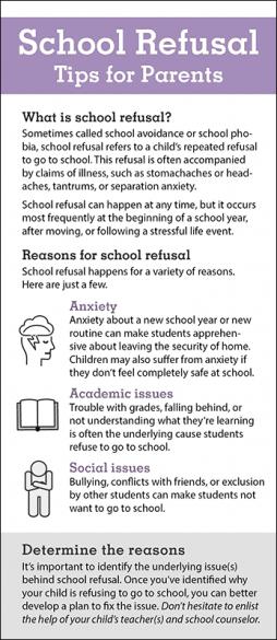 School Refusal Tips for Parents Rack Card Handout