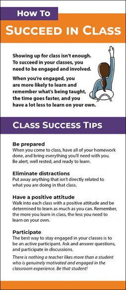 How to Succeed in Class Rack Card Handout