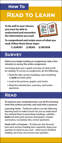 How to Read to Learn Rack Card Handout