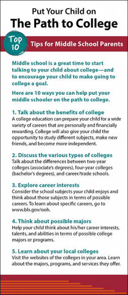 The Path to College Rack Card Handout