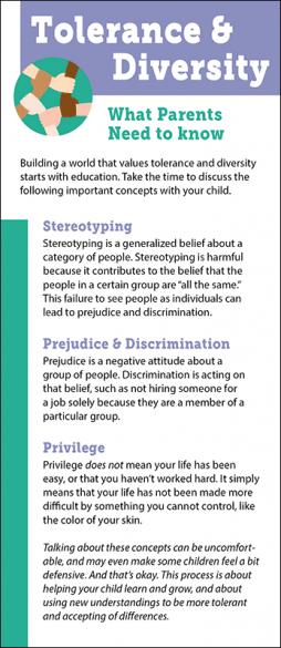 Tolerance & Diversity Parents Rack Card Handout