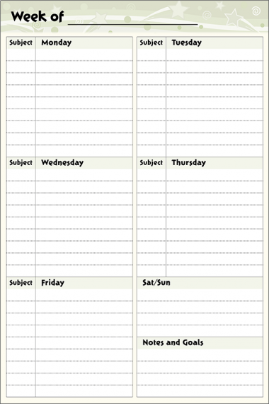 Planner Wall Chart