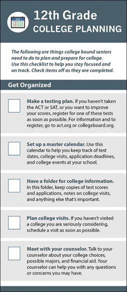12th Grade College Planning Rack Card Handout