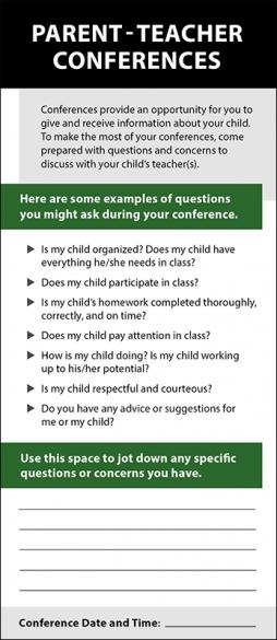 Parent-Teacher Conferences Rack Card Handout