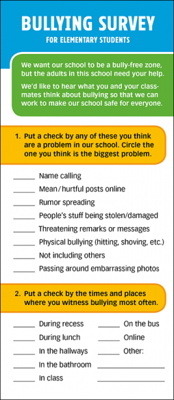 Bullying Survey for Elementary Students Rack Card Handout
