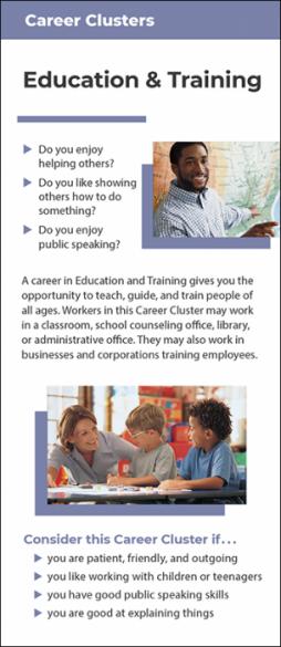 Career Clusters - Education & Training Rack Card Handout