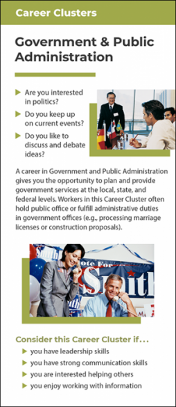 Career Clusters - Government & Public Administration Rack Card Handout