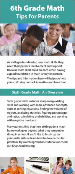 6th Grade Math Tips for Parents Rack Card Handout