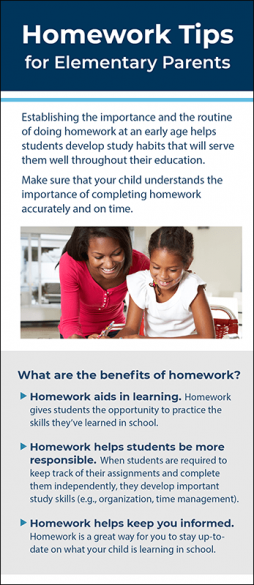 Homework Tips for Elementary Parents Rack Card Handout