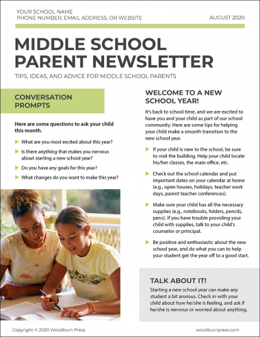 Middle school Parent Newsletter