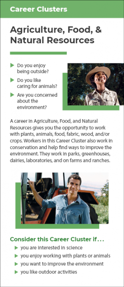 Career Cluster - Agriculture, Food & Natural Resources Rack Card Handout