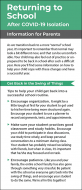 Returning to School After COVID-19 Isolation Information for Parents Rack Card Handout