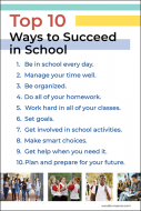 Top 10 Ways to Succeed in School Poster